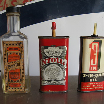 Old oil cans from Estate sale