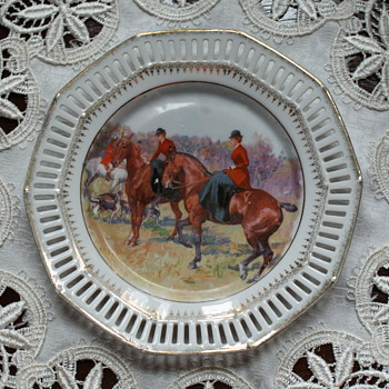 Schumann Vintage Porcelain Plates with Hunting Scene  - China and Dinnerware