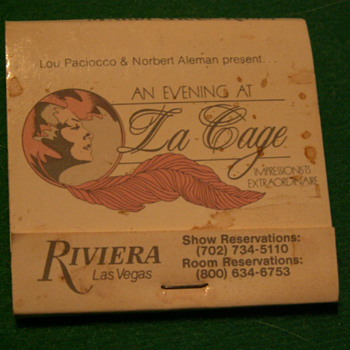 Vintage Riviera Casino (An Evening At La Cage) Matchbook ~ Las Vegas, Nevada - Tobacciana