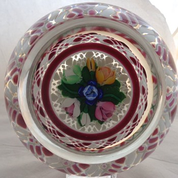 Perthshire Paperweight 1983 Special Edition Red & White Gingham Overlay - Art Glass