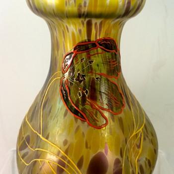 "Glasfabrik Schliersee ""Kröselndekor"" enameled vase, Prod. Nr. 328, ca. 1901-1905 - Art Glass"