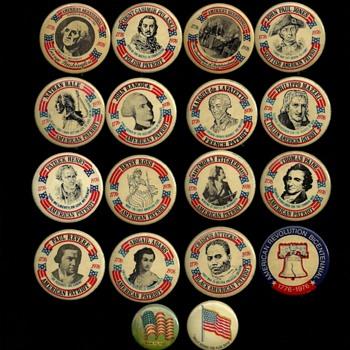 16 Bicentennial + 2 older U.S. Flag Pinback Buttons - Medals Pins and Badges