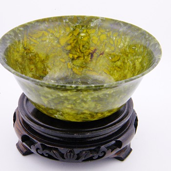 Vintage Chinese Natural Spinach Jade Bowls  - Asian