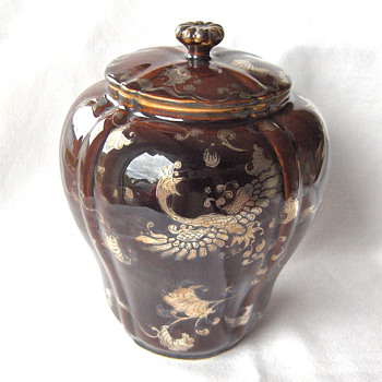 New Jar Wakayama Collection Japan 1900 Pottery Silver Overlay Ho-Bird Deep Red Glaze