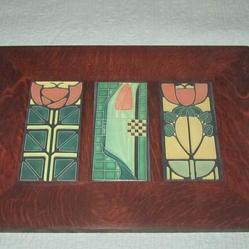 Motawi Tileworks Dard Hunter Framed Set 3 Tiles Quartersawn Oak Frame  - Art Pottery