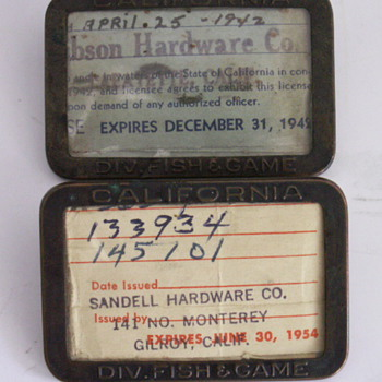 1942 & 1954 California Fishing License