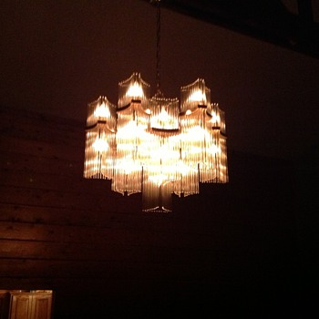living room mcm chandelier.