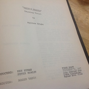 vadim's dracula screenplay
