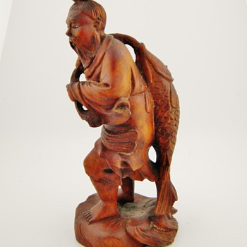 Vintage Chinese Carved Fisherman Wood - Asian