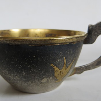 Interesting Little Silver Cup with Gold Leaves, 2 Marks & no luck researching - Sterling Silver