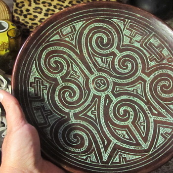 Brown etched pottery wall hanging plate - Pottery