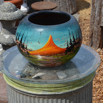 Painted Mexican Planter - Art Pottery