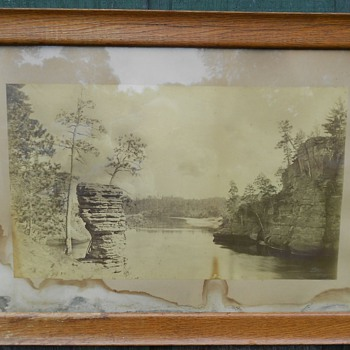 Large Orig. Framed Antique H.H. Bennett Wis. Dells Photograph