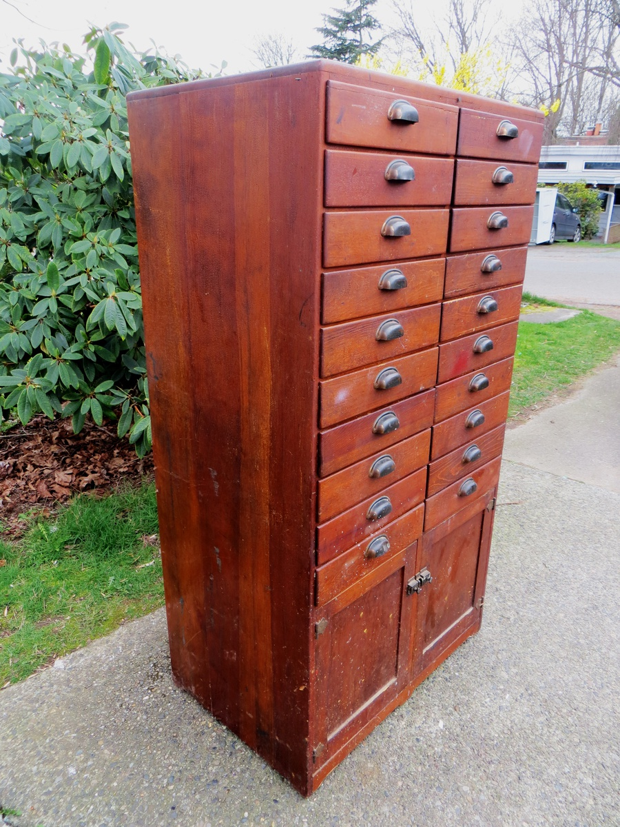 Antique 20 Drawer Wood Apothecary Cabinet Collectors