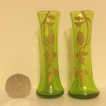 Miniature pair of enamelled Bohemian vases