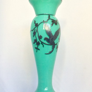 Bohemian Unknown Turquoise Teal Silver Overlay Cased Vase  - Art Glass