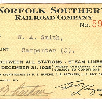 Norfolk Southern Railroad Pass---1928
