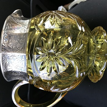 Cut glass pitcher & sterling unknown