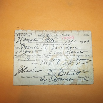 1909 OKLAHOMA HUNTING LICENSE/ 1949 IRISH SWEEPSTAKES TICKET