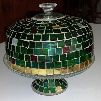 Stained Glass Domed Pedestal Cake Stand