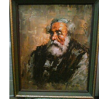 "Oil on Canvas ""Portrait of a Scholar"" by Garcia 23"" x 19"" Framed/ Circa 20th Century - Visual Art"