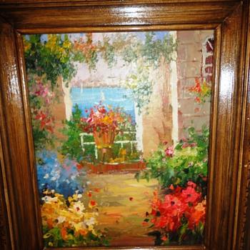 Garden Scene Oil on Board - Visual Art