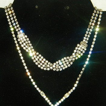 Vintage Rhinestone Necklaces Era Unknown - Costume Jewelry