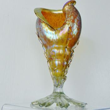 """Huge Loetz Candia Papillon  Shell Series I, PN# 7024 Vase 12""""  ca: 1898"""