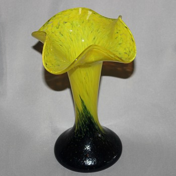 Yellow Blue 7 inch vase - Art Glass