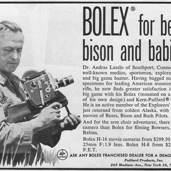 1952 - Bolex Movie Cameras Advertisement