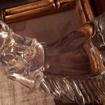 Vintage art glass horse with gold inclusions