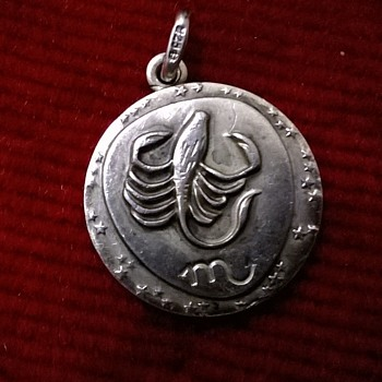 Unusual Sterling Horoscope Pendant Thrift Shop Find 90 Euro Cents ($0.96) - Fine Jewelry