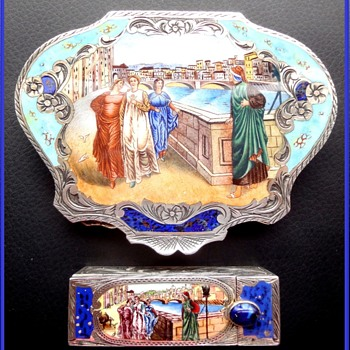 """Italian Sterling Vermeil Figural Compact plus Matching Lipstick Featuring """"Dante and  Beatrice"""" Painting by Henry Holiday"""