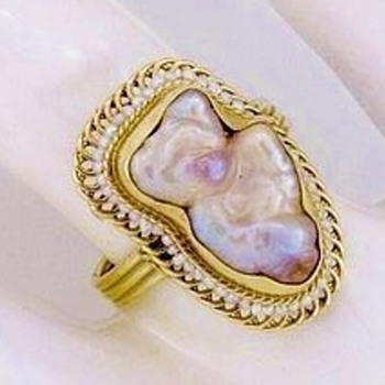 "Art Nouveau Baroque ""Boo Boo BEAR"" Pearl & Seed Pearl 14k Ring  - Fine Jewelry"