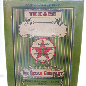 TEXACO GUN OIL CAN FROM PORT ARTHUR,TEXAS.