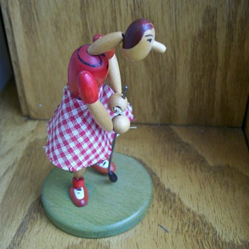 Vintage Western Zone German Golf lady Doll wood and poseable