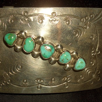 Native American Large Turquoise Belt buckle Signed  - Native American
