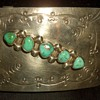 Native American Large Turquoise Belt buckle Signed