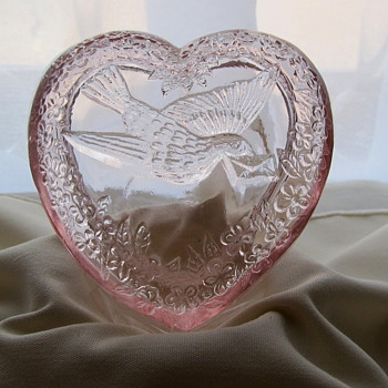 "Pink Glass Trinket dish was a bird carrying an envelope ""W"" on bottom"
