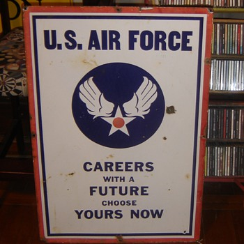 Air Force/Army Recruiter Porcelain Sign - Military and Wartime