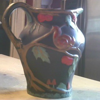 Art Pottery Pitcher With Tree Handle