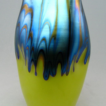 Loetz Ausfhrung Vase in Yellow with Blue Drips - Art Glass