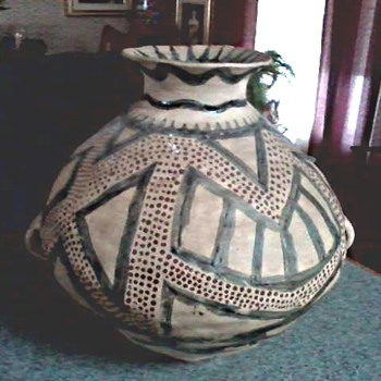 Unusual Large Native American Style Clay Handled Pot / Unknown Make and Age - Art Pottery