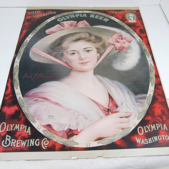 1910 Olympia Beer Lithograph - Breweriana
