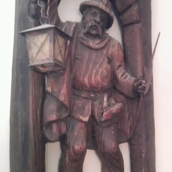 German, black forest, carved night guard lamp