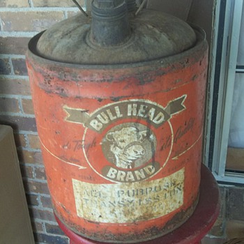 Rare Old Bull Head Transmission Oil Can - Petroliana