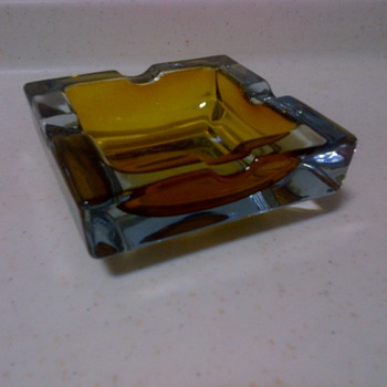 Mid-Century Modern amber glass ash tray