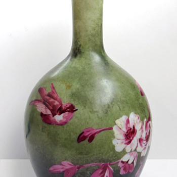 Baccarat Opaline Vase in Green and Deep Pink