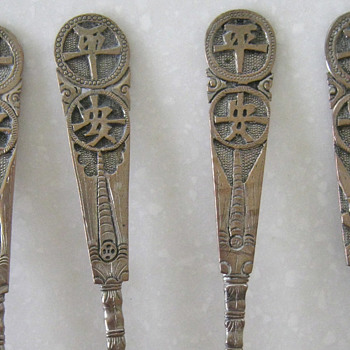 CHINESE? JAPANESE? SILVER SPOONS - Sterling Silver
