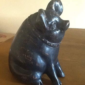 Wood Carved Sitting Pig - Animals